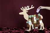 500 Euro bill is taken out of an advent calendar