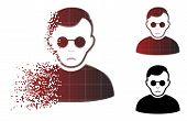 Sadly Blind Man Icon In Fractured, Pixelated Halftone And Undamaged Entire Variants. Particles Are C poster