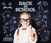 Little School Girl On Blackboard With School Supplies Pattern. Back To School. poster