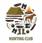 Hunting Sport Club Poster With Circle Of Hunter Weapon And Equipment. Rifle, Knife And Gun, Shotgun  poster