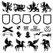 Heraldic Animals And Design Elements For Coat Or Arms And Insignia Template. Medieval Shield, Knight poster