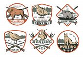 Hunting Animal And Bird With Hunter Rifle Retro Shield Badge For Hunt Sport Club Template. Grouse, L poster