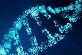 Digital Dna Molecule, Structure. Concept Binary Code Human Genome. Dna Molecule With Modified Genes. poster