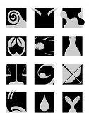twelve zodiacal signs-black and white