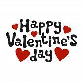 Lettering Romantic Phrase Happy Valentines Day. Handdrawn Decorative Element. Love Wish. Vector Han poster