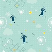 baby wallpaper- seamless pattern of clouds, hopscotch, numbers and smiling little bugs vector background