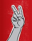 sketch of a hand showing victory or peace sign vector illustration against red textured background