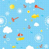 baby wallpaper- seamless pattern for summer season with marine elements (fishes, toys, boats and smi