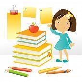 Vector ilustración de una niña feliz por una pila de libros y útiles escolares, en Pentecostés
