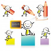children drawing style educational icon set. Cute girl character series, grouped and layered for easy editing. See similar in my portfolio
