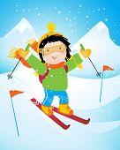 happy little skier, cartoon vector illustration