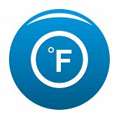 Fahrenheit Icon Blue Circle Isolated On White Background poster