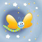mariposa de dibujos animados en la noche, vector wallpaper para niños
