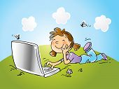 vector cartoon funny girl sitting on grass with laptop computer, hand- drawing style