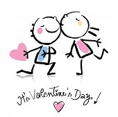 Valentine's Day kiss, cartoon romantic people in love