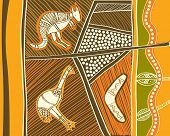 foto of boomerang  - animals drawings aboriginal australian style - JPG
