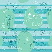 Cute animals playing with water, baby seamless pattern background