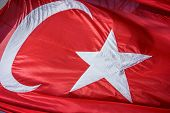 Close Up Waving Fabric Flag Of Turkey, Turkish National Flag Fabric Background Texture, Turkey Flag  poster