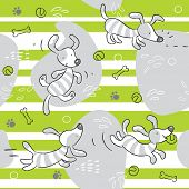 dog playing seamless pattern background