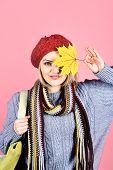 Autumn. Autumn Leaves. Autumn Sales. Sensual Woman With Maple Leaves. Autumn Mood. Woman With Autumn poster