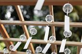 Many Glass Wind Chimes. Japanese Wind Bells Fuurin Festival Matsuri. Summer Trip To Japan Concept. poster