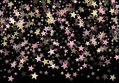 Pink Gold Vector Star Background. Gold Falling Sparkle Pattern On Black. Christmas, New Year, Birthd poster