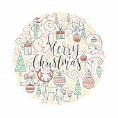 Perfect Handmade Lettering For Holiday Decorations With Cute Illistrations. Trendy New Year Design.  poster