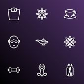 Spiritual Icons Line Style Set With Dumbbell, Floral, Lamp And Other Weight Elements. Isolated Vecto poster