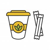 Tea To Go With Sugar Sachets Color Icon. Disposable Tea Cup With Lid. Isolated Vector Illustration poster