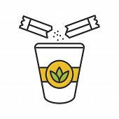 Adding Sugar To Tea Color Icon. Disposable Tea Cup With Sugar Sachets. Isolated Vector Illustration poster