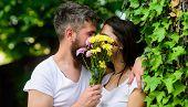 Man Bearded Hipster Kisses Girlfriend. Couple Love Romantic Date Nature Background. Love Romantic Fe poster