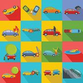 Accident Car Crash Case Icons Set. Flat Illustration Of 16 Accident Car Crash Case Icons For Web poster