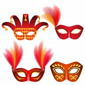 Carnival Mask Venetian Mockup Set. Realistic Illustration Of 4 Carnival Mask Venetian Mockups For We poster