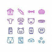 Illustration Of 16 Animal Icons Line Style. Editable Set Of Kibble, Pet Cup, Nutrition And Other Ico poster