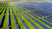 Long Perspective Rows Of Solar Panel Farm Providing Clean Renewable Energy For Austin , Texas - Gree poster