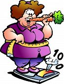 Hand-drawn Vector Illustration Of An Fat Lady