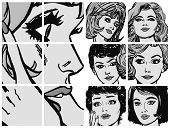 Illustration with collection of portraits blondes and brunettes