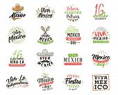 Viva Mexico. Mexico Independence Day. 16 September. Vector Typography Set. poster