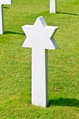 Marble Star Of David Of Fallen Soldier At American War Cemetery Near Omaha Beach, Normandy (collevil