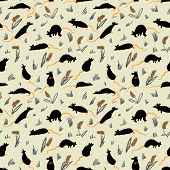 Seamless Pattern With Rats. Cute Hand Drawn Background With Cute Rodents On The Meadow. Artistic Ani poster