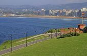 Coastline In City Gijon Located On North Of Spain poster
