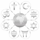 World Religions United On A Silver Flower With Planet Earth In Center. Signs Of Major Religious Grou poster
