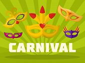 Music Carnival Logo. Flat Illustration Of Music Carnival Logo For Web poster