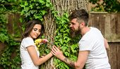 Enjoy Romantic Date In Park. Couple In Love Romantic Date Walk Nature Tree Background. Love Relation poster