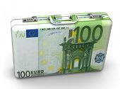 Suitcase with euro. 3d