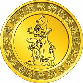 Vector Money Gold Coin With The Image Of God And The Mayan Hieroglyphs