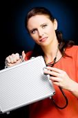 Woman Smiling While Conducting Business Review