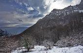 Kind on mountain Ah-petri in cloudy weather
