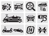 image of wrecker  - vector black car repair icons in the gray squares - JPG