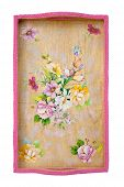 stock photo of decoupage  - Wooden tray decorated with decoupage on white - JPG